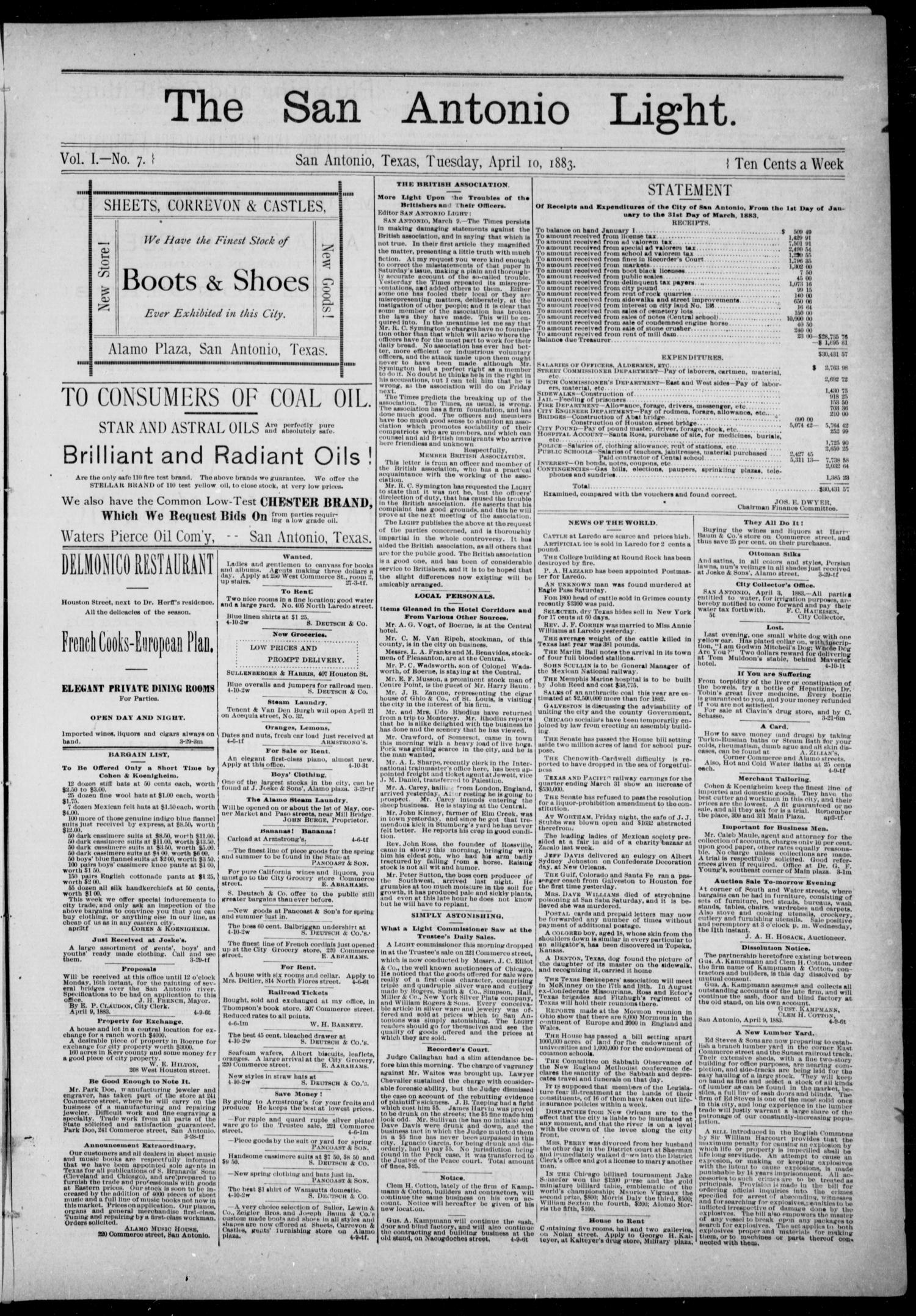 The San Antonio Light (San Antonio, Tex.), Vol. 1, No. 7, Ed. 1, Tuesday, April 10, 1883                                                                                                      [Sequence #]: 1 of 4