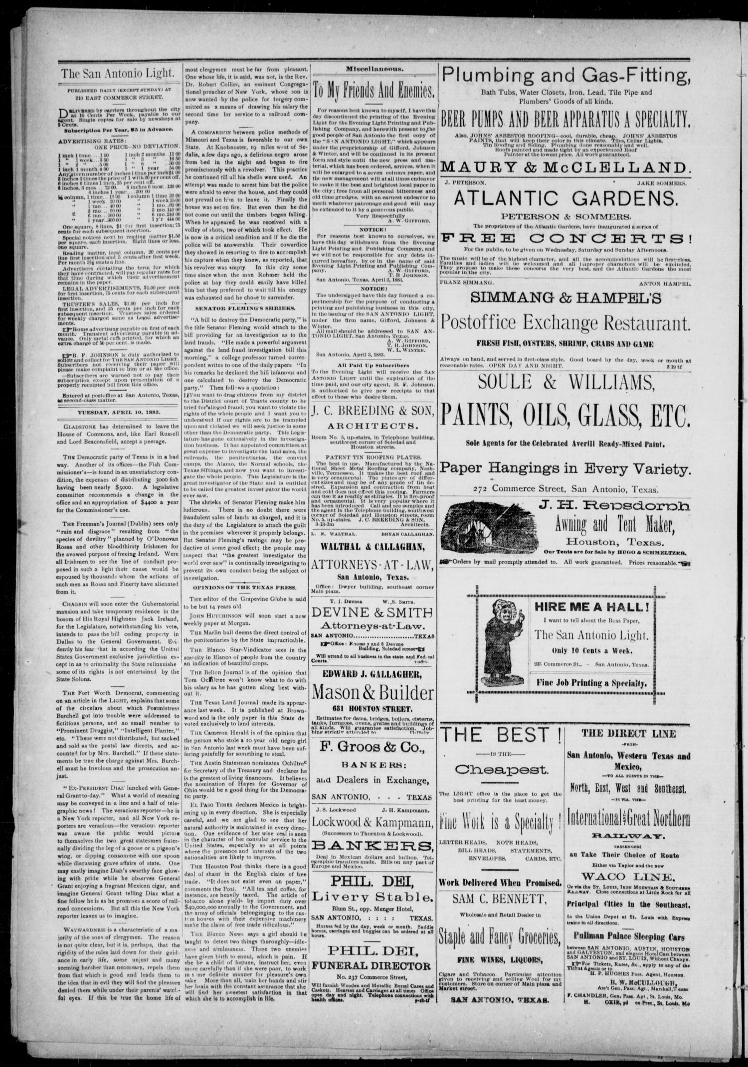 The San Antonio Light (San Antonio, Tex.), Vol. 1, No. 7, Ed. 1, Tuesday, April 10, 1883                                                                                                      [Sequence #]: 2 of 4