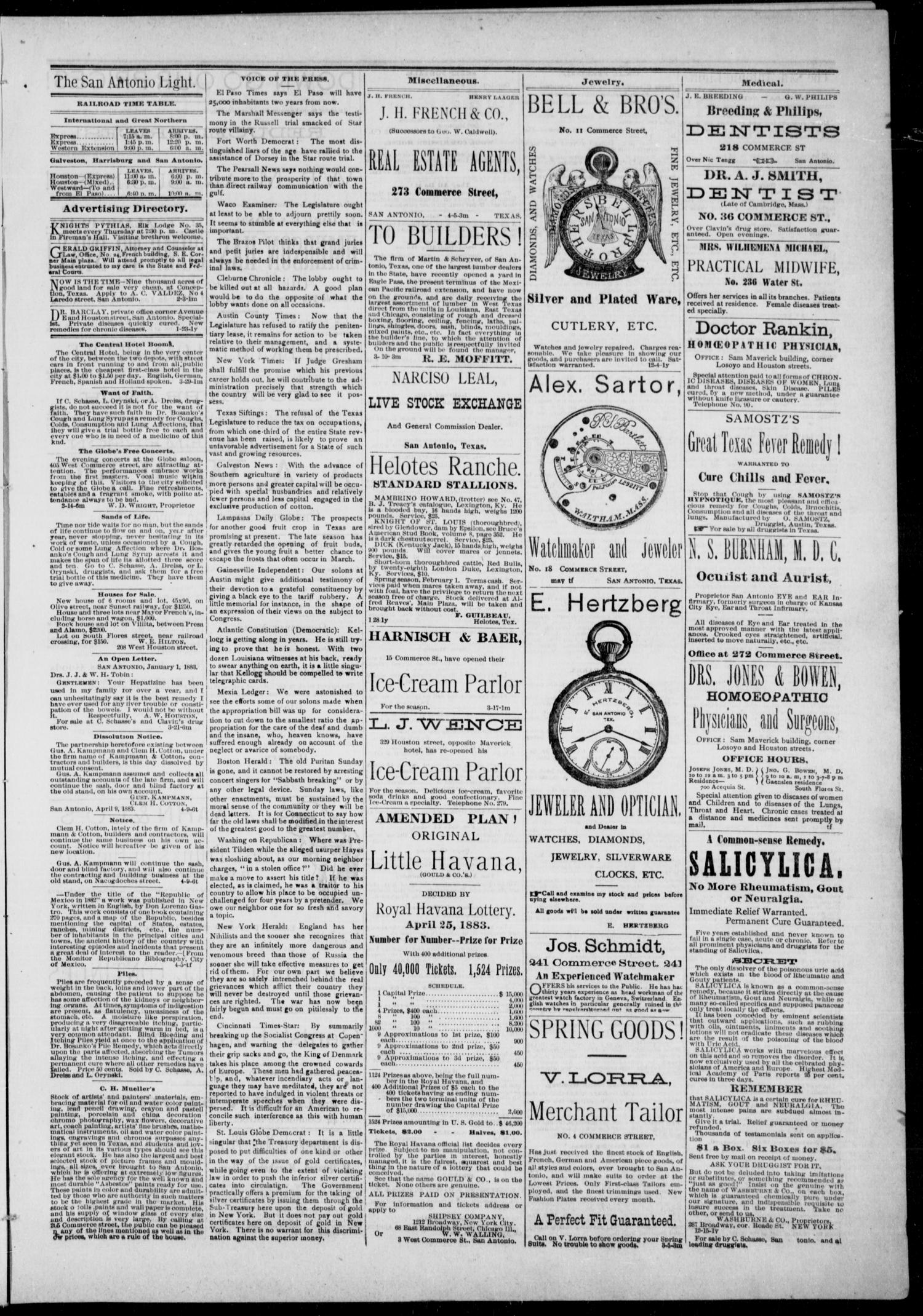 The San Antonio Light (San Antonio, Tex.), Vol. 1, No. 8, Ed. 1, Wednesday, April 11, 1883                                                                                                      [Sequence #]: 3 of 4