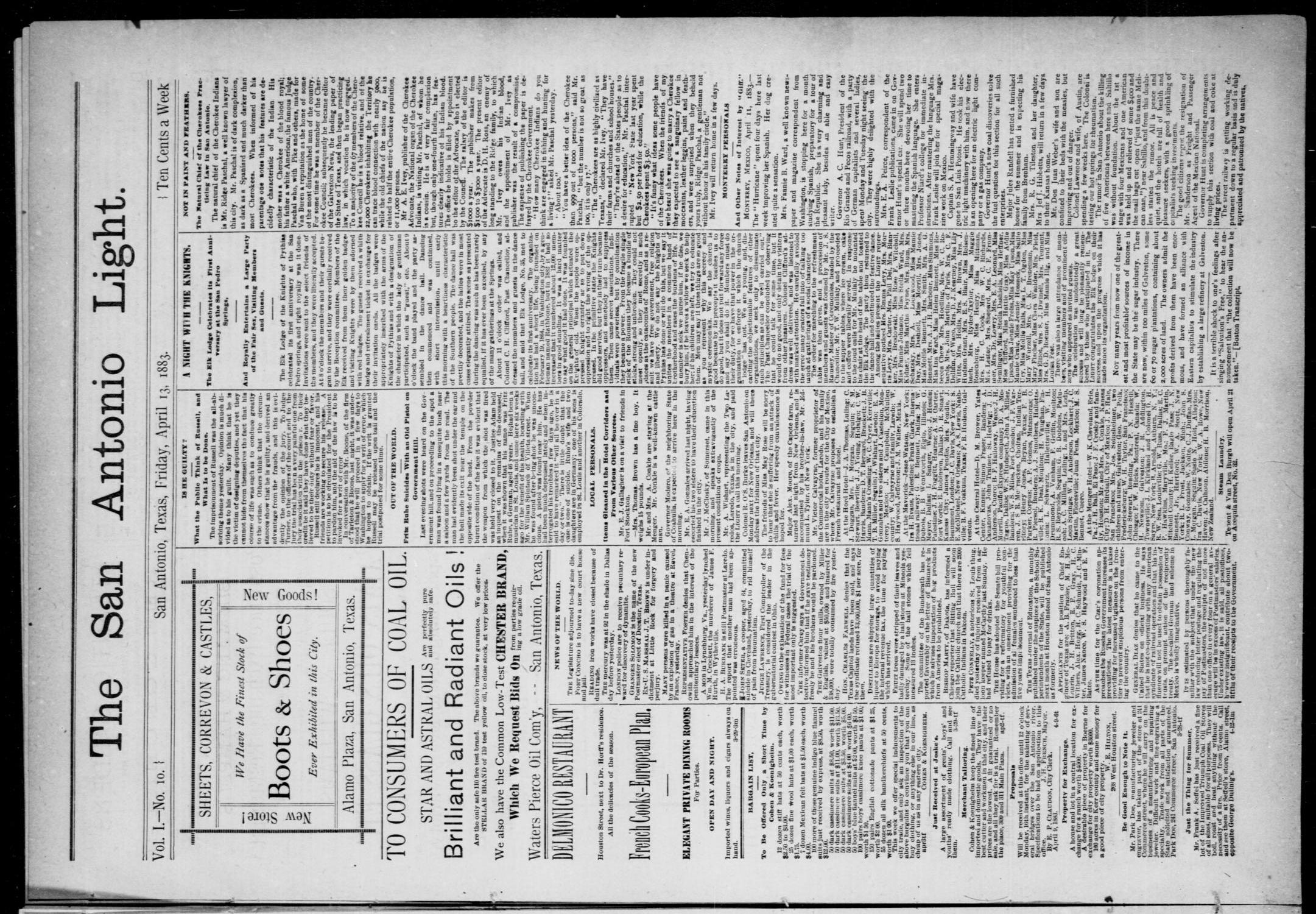 The San Antonio Light (San Antonio, Tex.), Vol. 1, No. 10, Ed. 1, Friday, April 13, 1883                                                                                                      [Sequence #]: 1 of 4