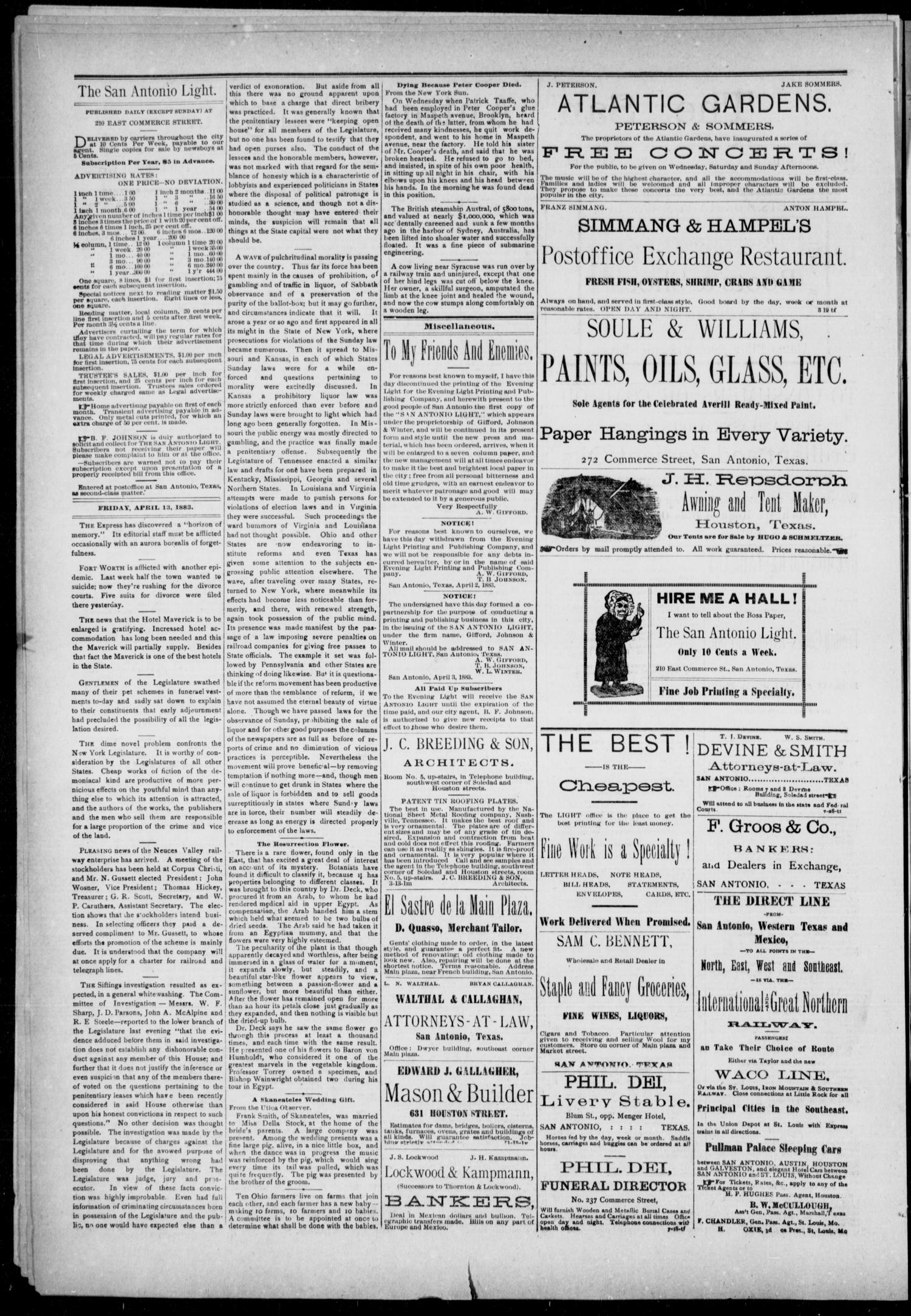 The San Antonio Light (San Antonio, Tex.), Vol. 1, No. 10, Ed. 1, Friday, April 13, 1883                                                                                                      [Sequence #]: 2 of 4