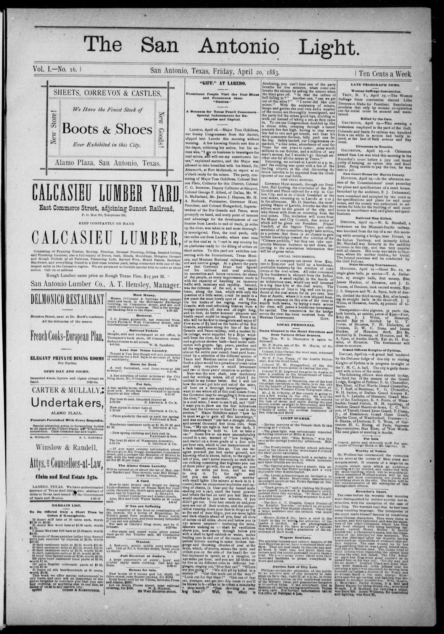 The San Antonio Light (San Antonio, Tex.), Vol. 1, No. 16, Ed. 1, Friday, April 20, 1883                                                                                                      [Sequence #]: 1 of 4
