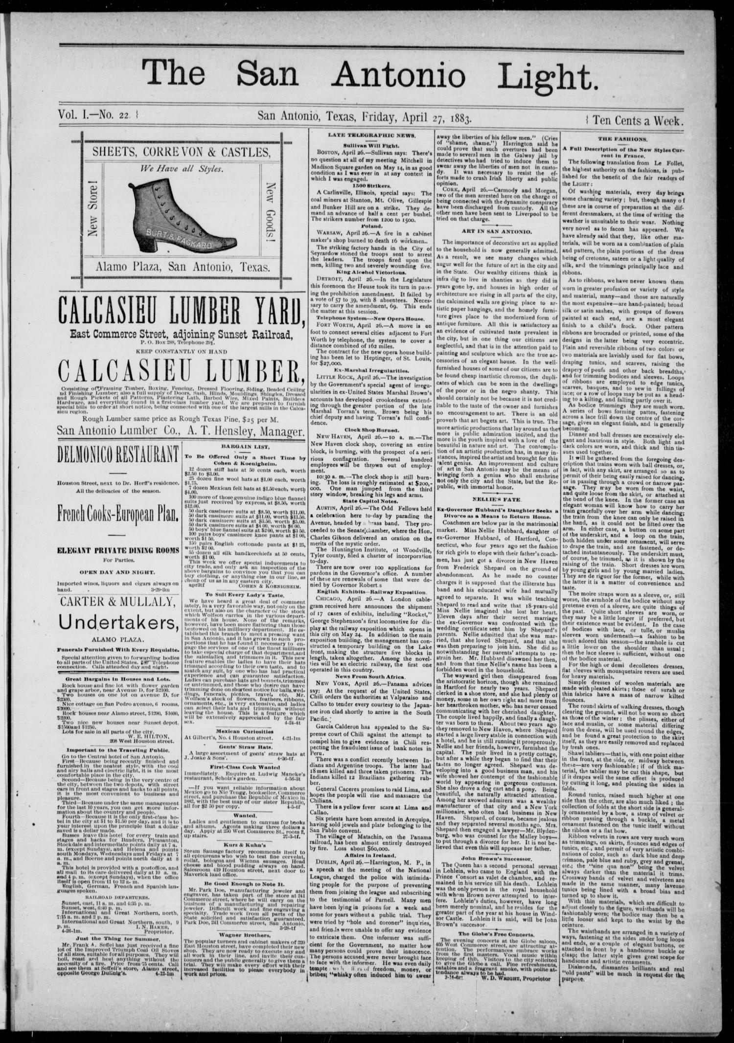 The San Antonio Light (San Antonio, Tex.), Vol. 1, No. 22, Ed. 1, Friday, April 27, 1883                                                                                                      [Sequence #]: 1 of 4