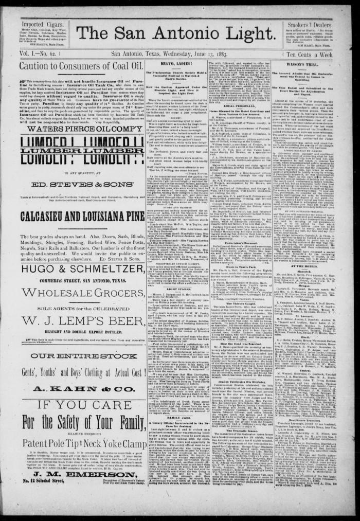 The San Antonio Light (San Antonio, Tex ), Vol  1, No  62