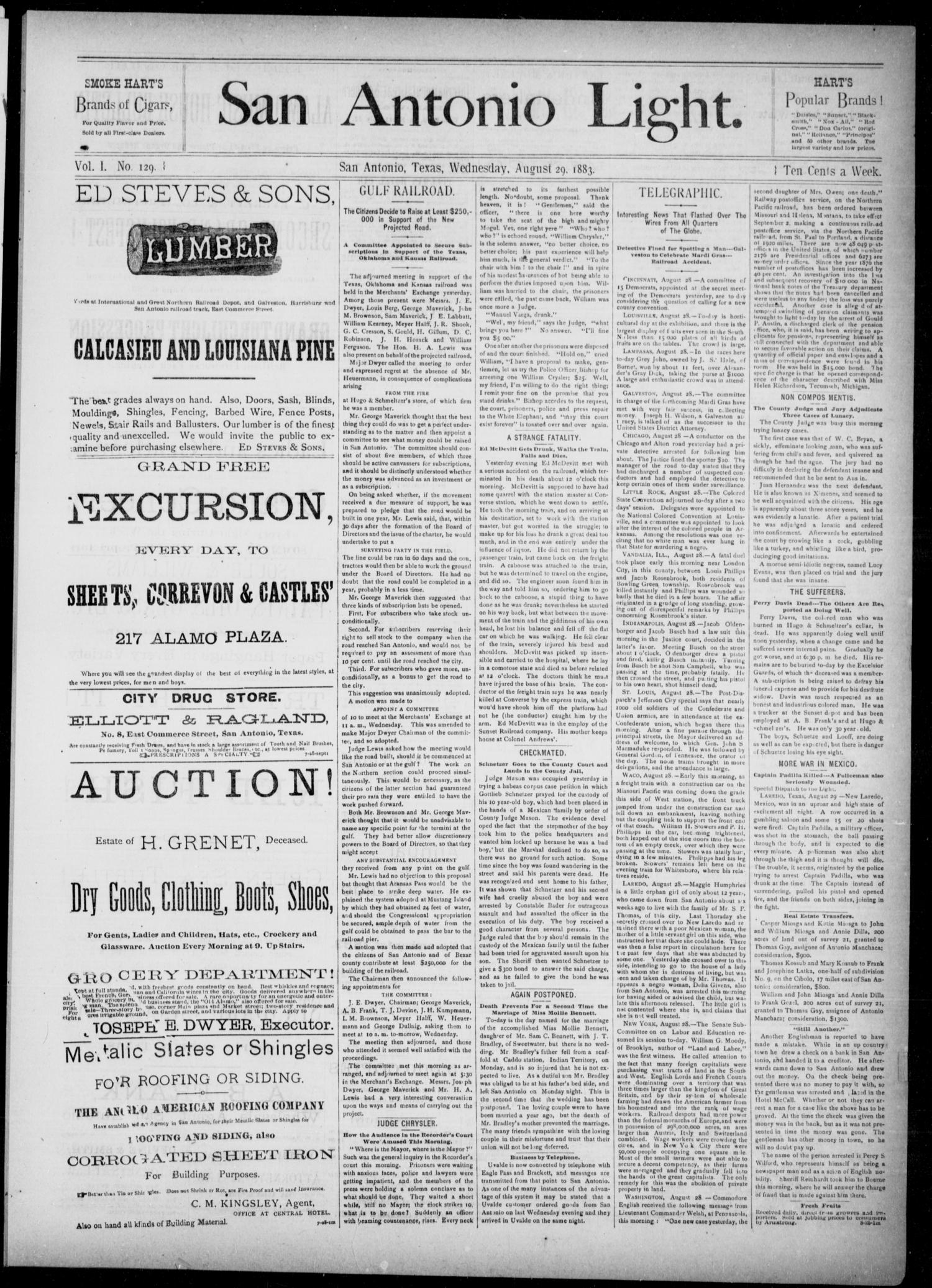 The San Antonio Light (San Antonio, Tex.), Vol. 1, No. 129, Ed. 1, Wednesday, August 29, 1883                                                                                                      [Sequence #]: 1 of 4