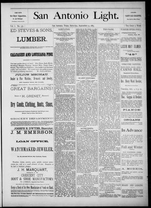The San Antonio Light (San Antonio, Tex.), Vol. 1, No. 156, Ed. 1, Saturday, September 29, 1883