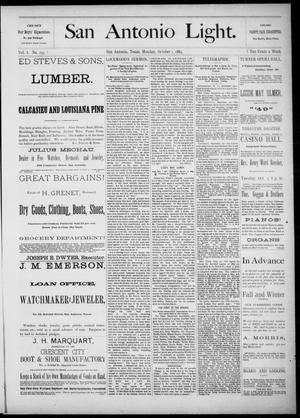The San Antonio Light (San Antonio, Tex.), Vol. 1, No. 157, Ed. 1, Monday, October 1, 1883