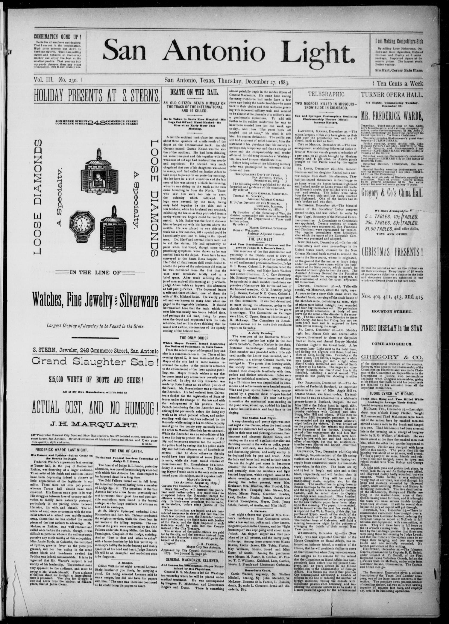 The San Antonio Light (San Antonio, Tex.), Vol. 3, No. 230, Ed. 1, Thursday, December 27, 1883                                                                                                      [Sequence #]: 1 of 4