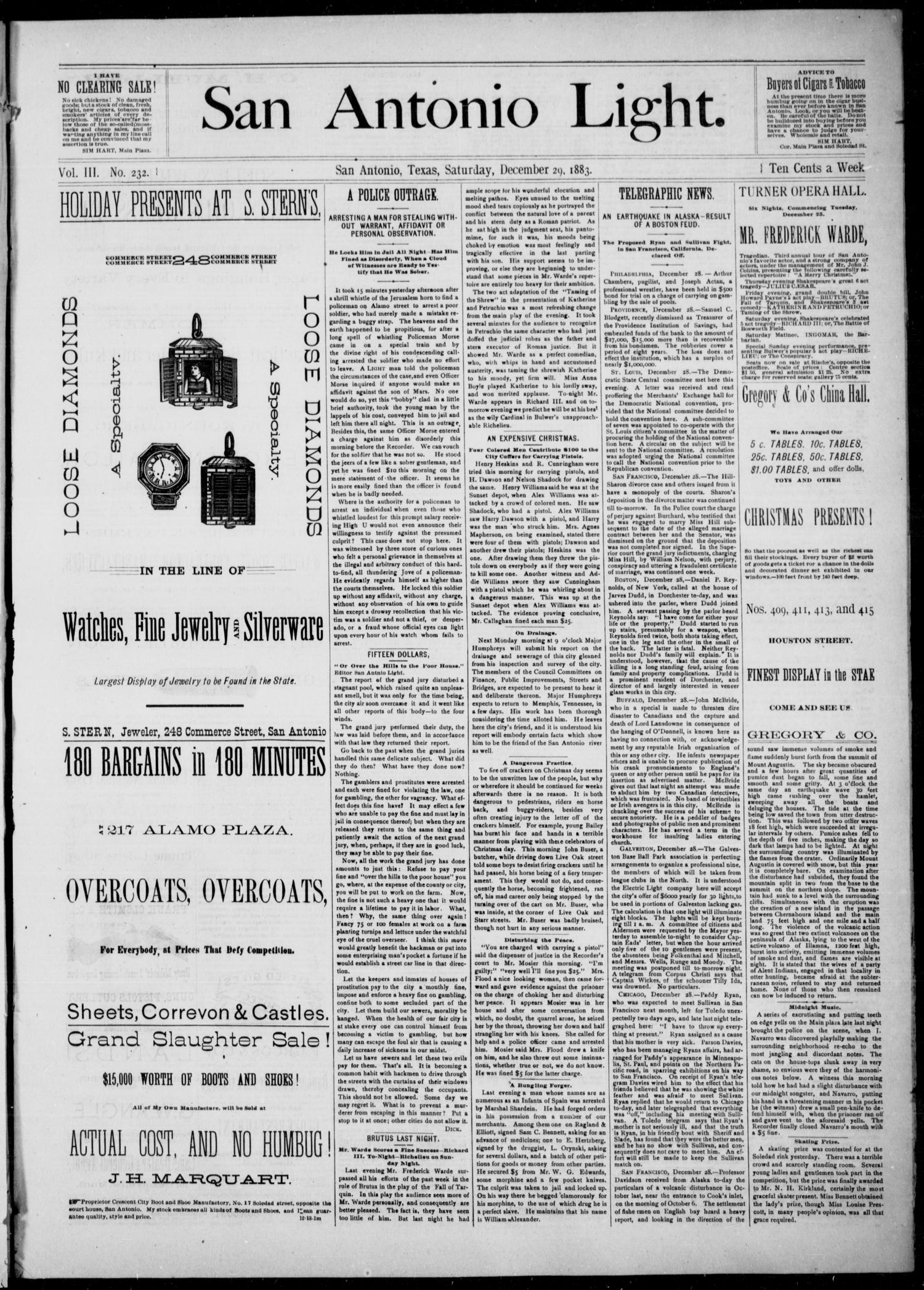 The San Antonio Light (San Antonio, Tex.), Vol. 3, No. 232, Ed. 1, Saturday, December 29, 1883                                                                                                      [Sequence #]: 1 of 4