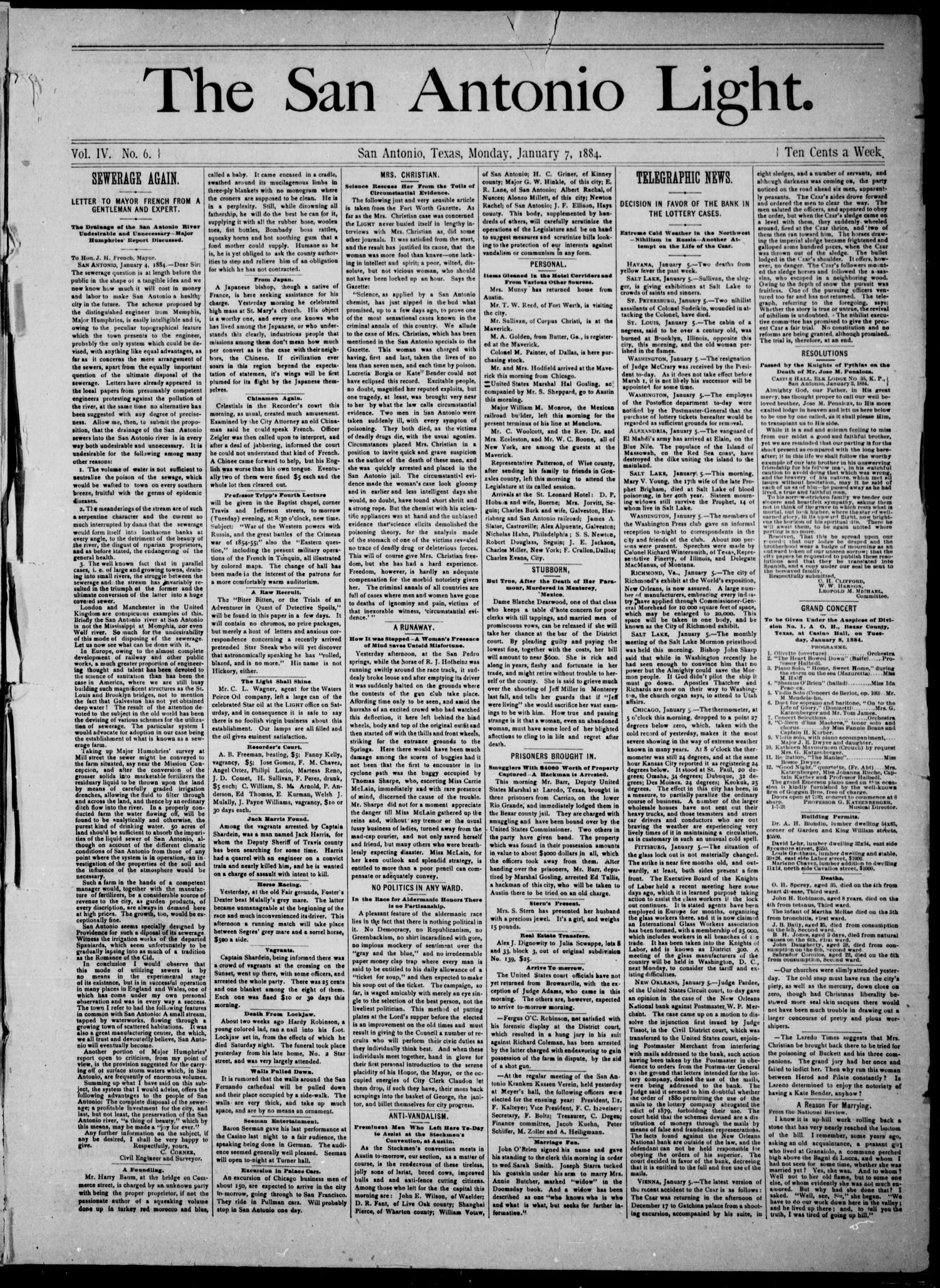 The San Antonio Light (San Antonio, Tex.), Vol. 4, No. 6, Ed. 1, Monday, January 7, 1884                                                                                                      [Sequence #]: 1 of 4