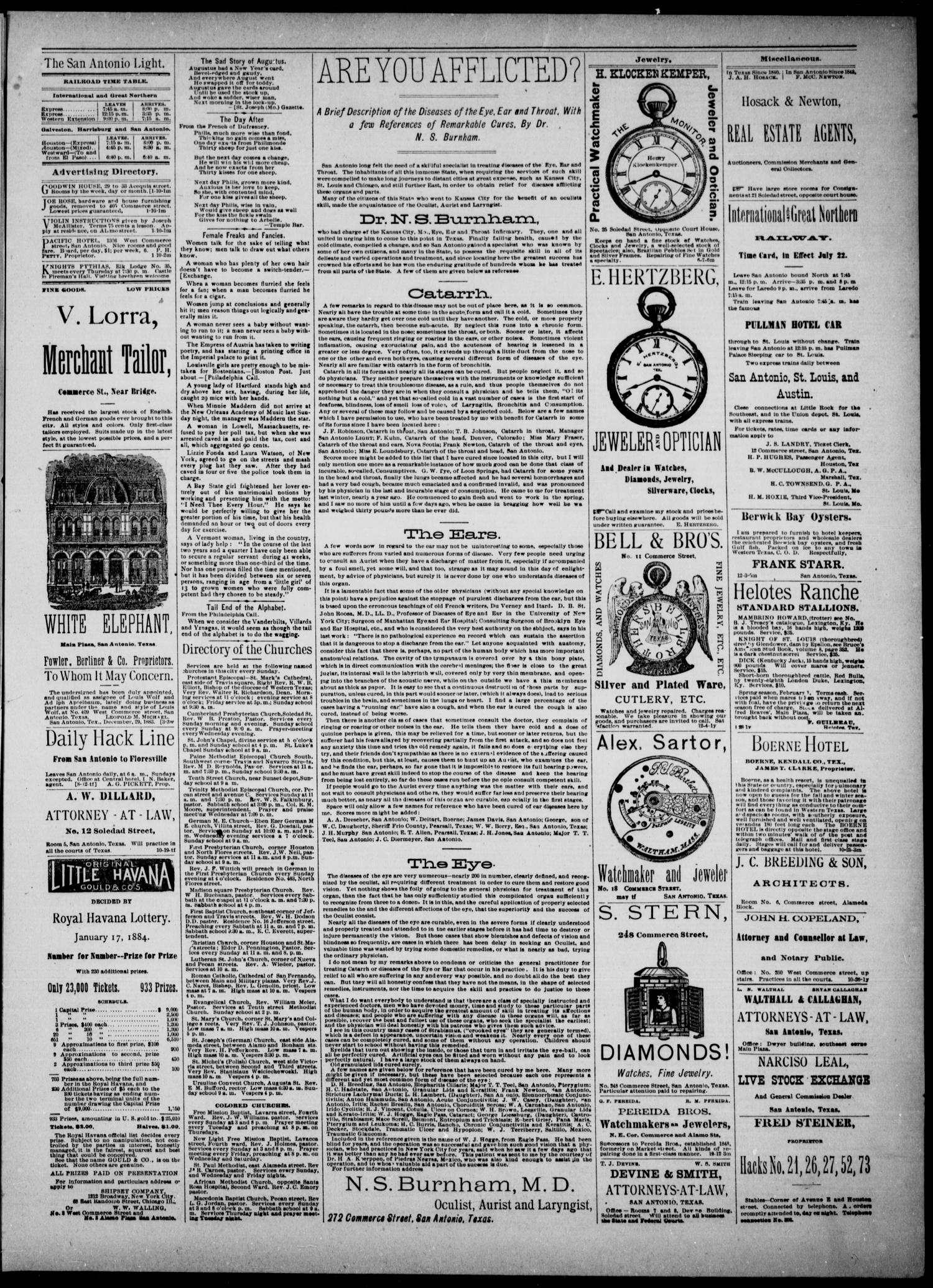 The San Antonio Light (San Antonio, Tex.), Vol. 4, No. 11, Ed. 1, Saturday, January 12, 1884                                                                                                      [Sequence #]: 3 of 4