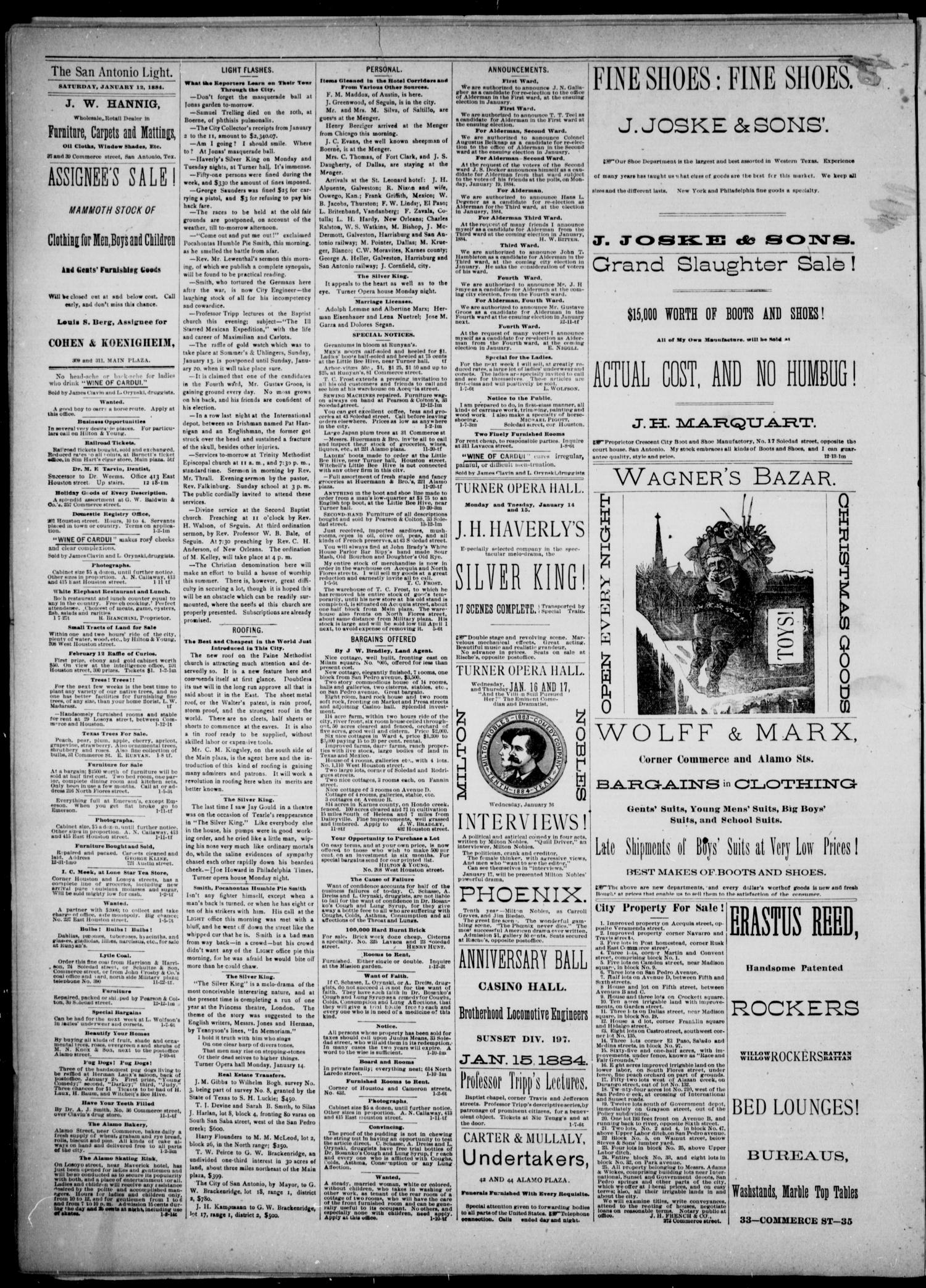 The San Antonio Light (San Antonio, Tex.), Vol. 4, No. 11, Ed. 1, Saturday, January 12, 1884                                                                                                      [Sequence #]: 4 of 4