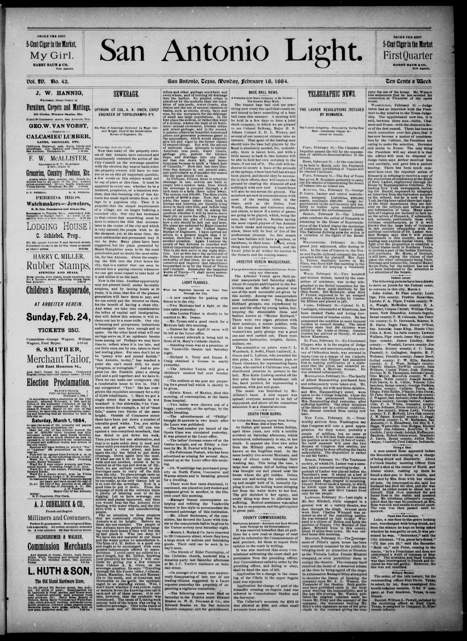 The San Antonio Light (San Antonio, Tex.), Vol. 4, No. 42, Ed. 1, Monday, February 18, 1884                                                                                                      [Sequence #]: 1 of 4