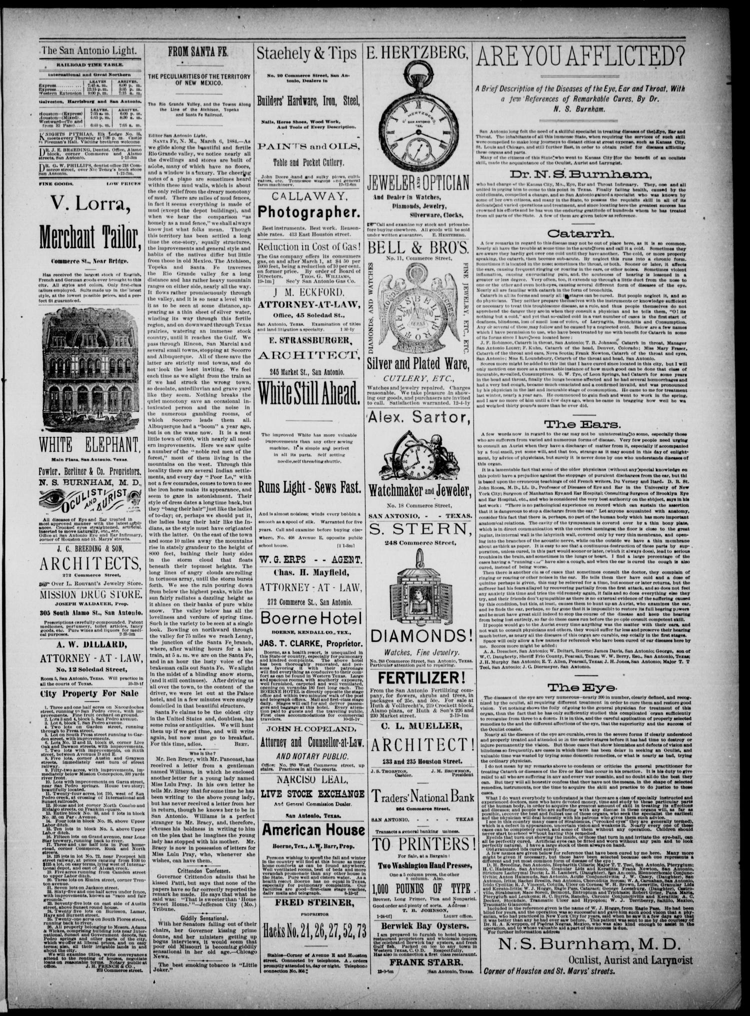 The San Antonio Light (San Antonio, Tex.), Vol. 4, No. 62, Ed. 1, Wednesday, March 12, 1884                                                                                                      [Sequence #]: 3 of 4
