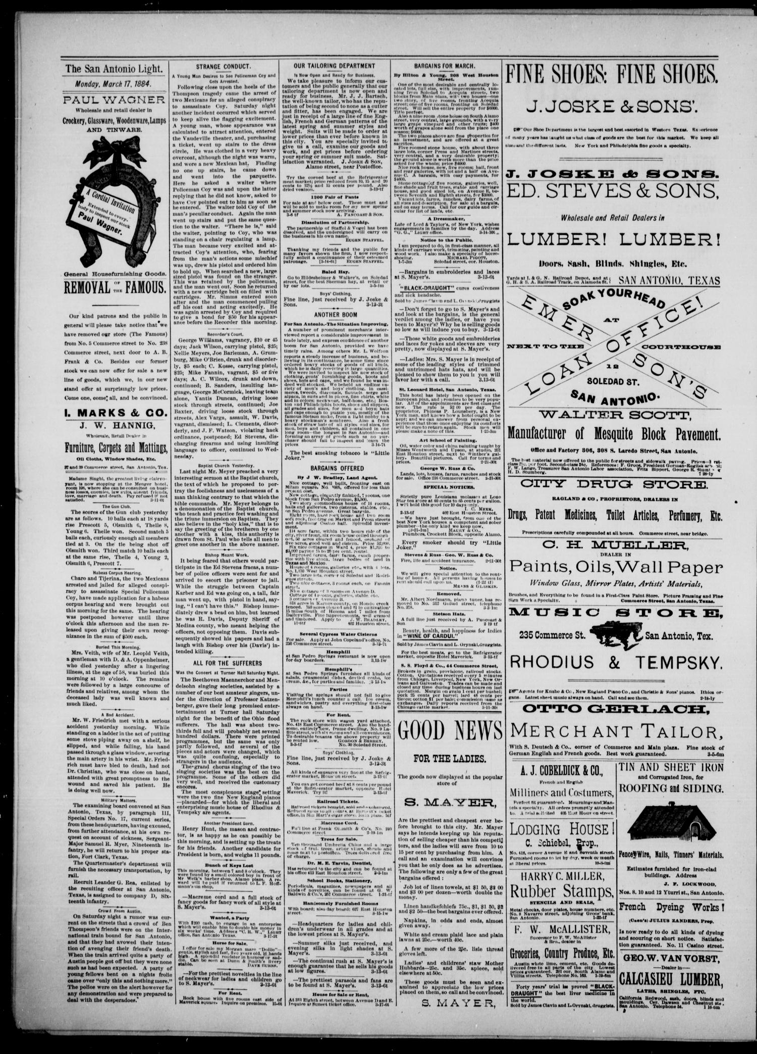The San Antonio Light (San Antonio, Tex.), Vol. 4, No. 66, Ed. 1, Monday, March 17, 1884                                                                                                      [Sequence #]: 4 of 4