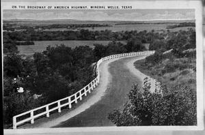 Primary view of object titled 'On the Broadway of America Highway, Mineral Wells, Texas'.
