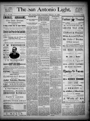 Primary view of The San Antonio Light (San Antonio, Tex.), Vol. 5, No. 40, Ed. 1, Wednesday, February 18, 1885