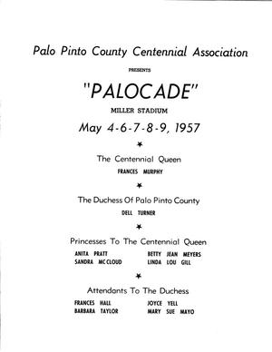 Primary view of object titled 'Palocade - Palo Pinto County - Official Centennial Program - front side'.