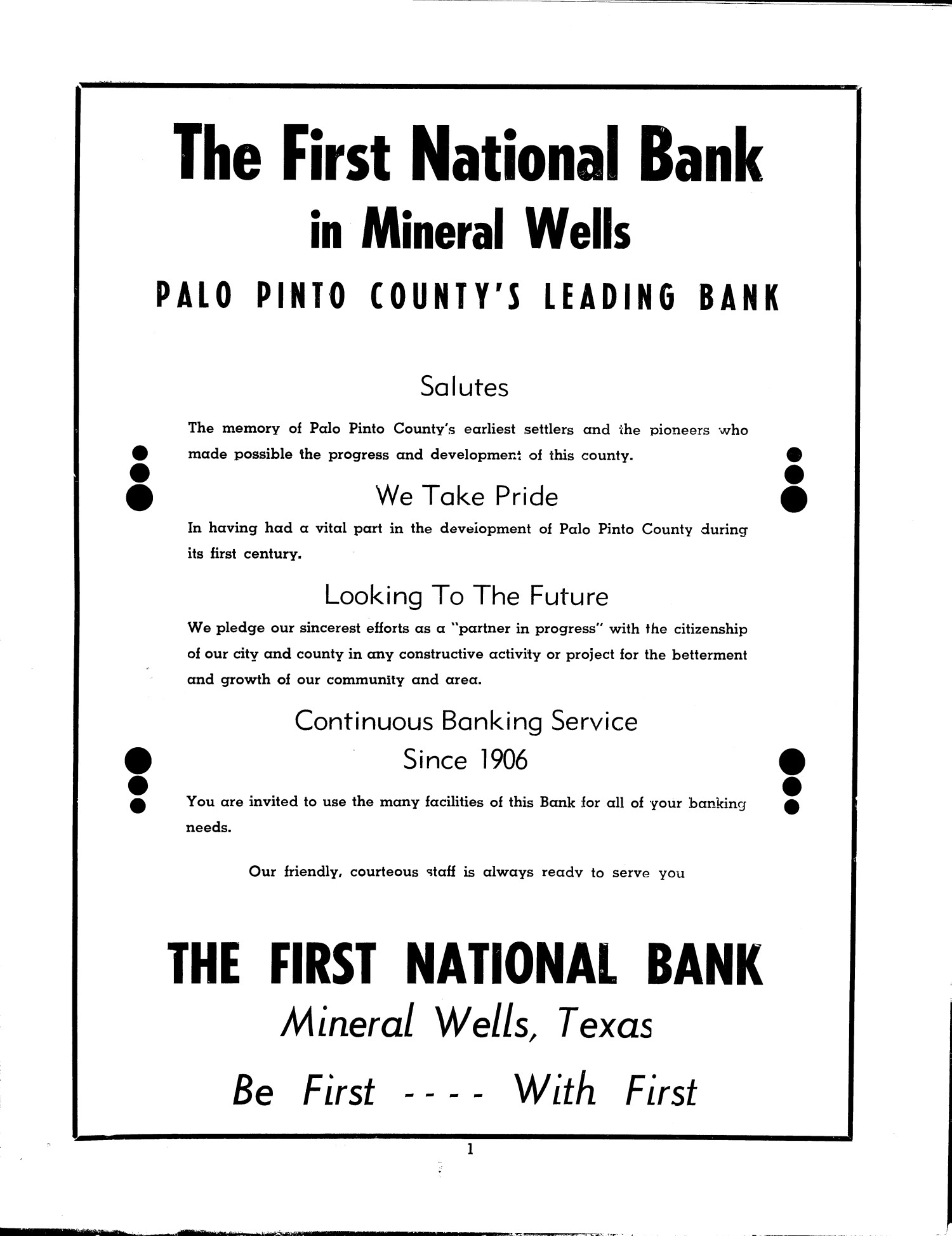 Palocade - Palo Pinto County - Official Centennial Program - back page                                                                                                      [Sequence #]: 1 of 31