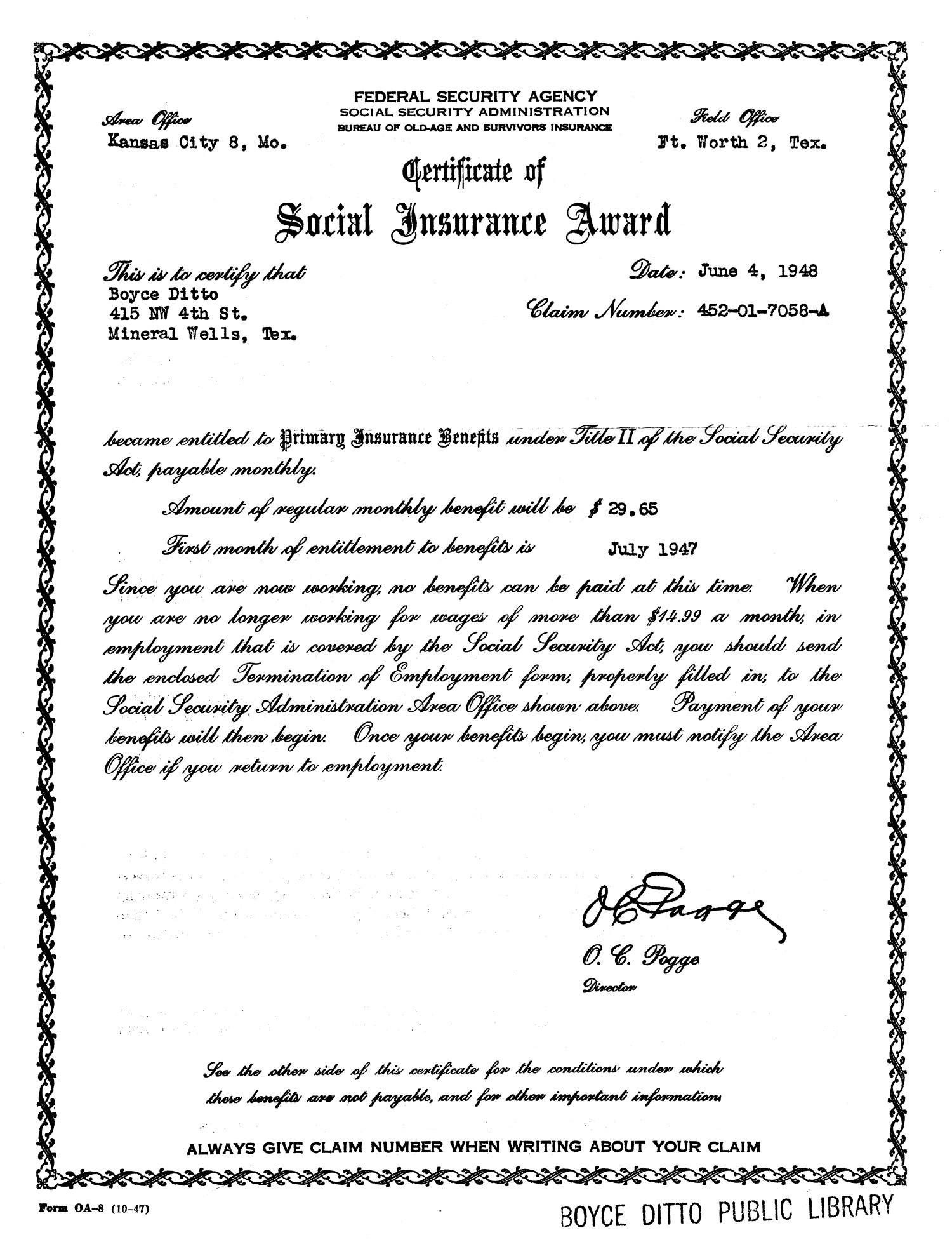 [Social Security Award for Boyce Ditto]                                                                                                      [Sequence #]: 1 of 2