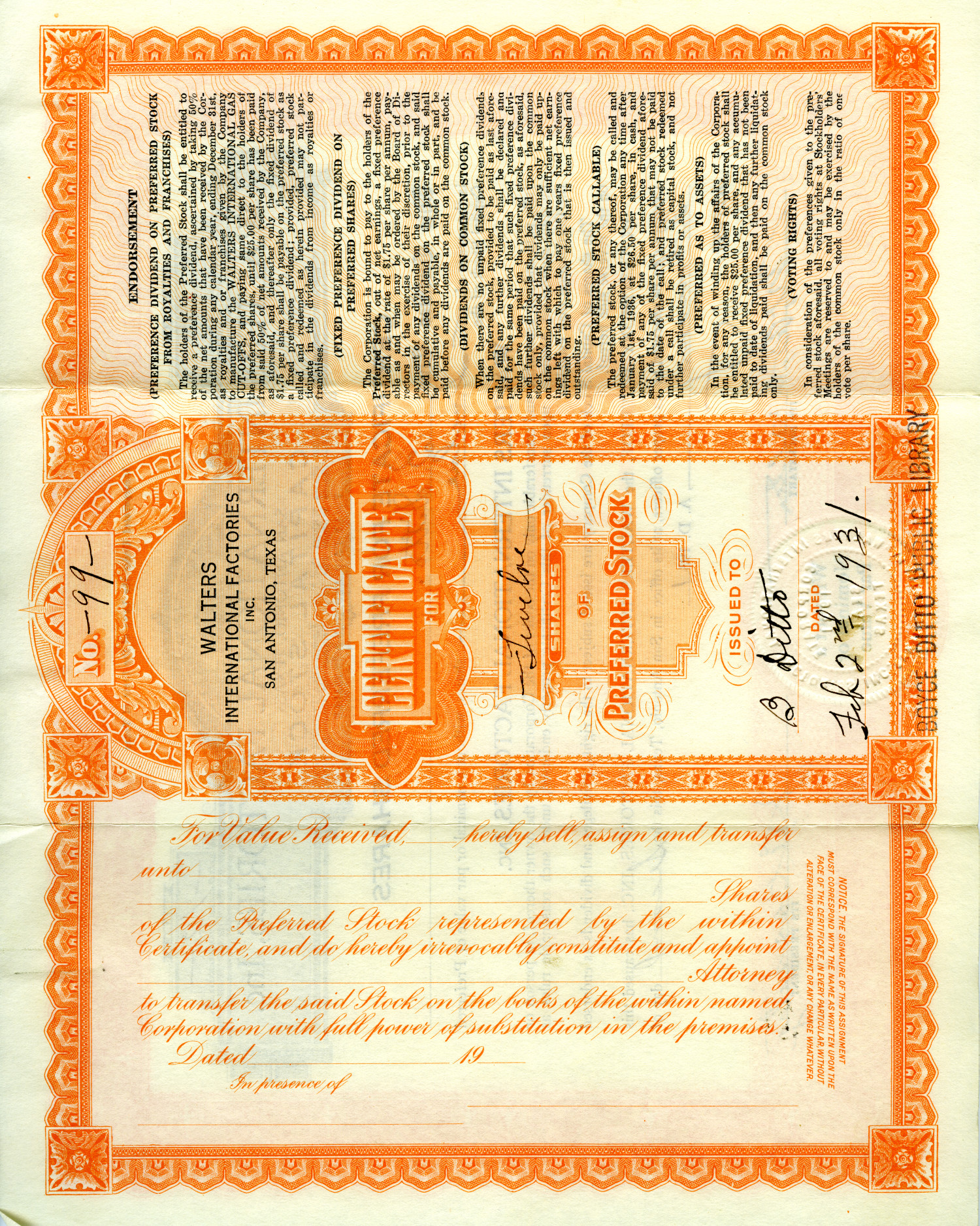 [Walters International Factories, Inc.- - Stock Certificate- - Preferred Stock]                                                                                                      [Sequence #]: 1 of 2