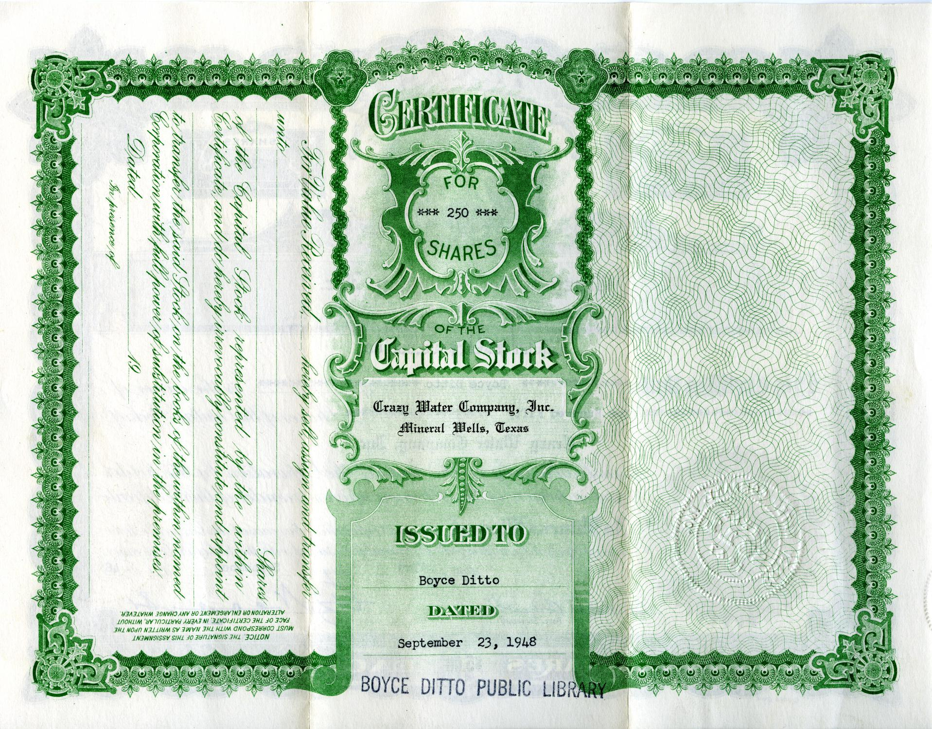 [The Crazy Water Company - Stock Certificate]                                                                                                      [Sequence #]: 1 of 2