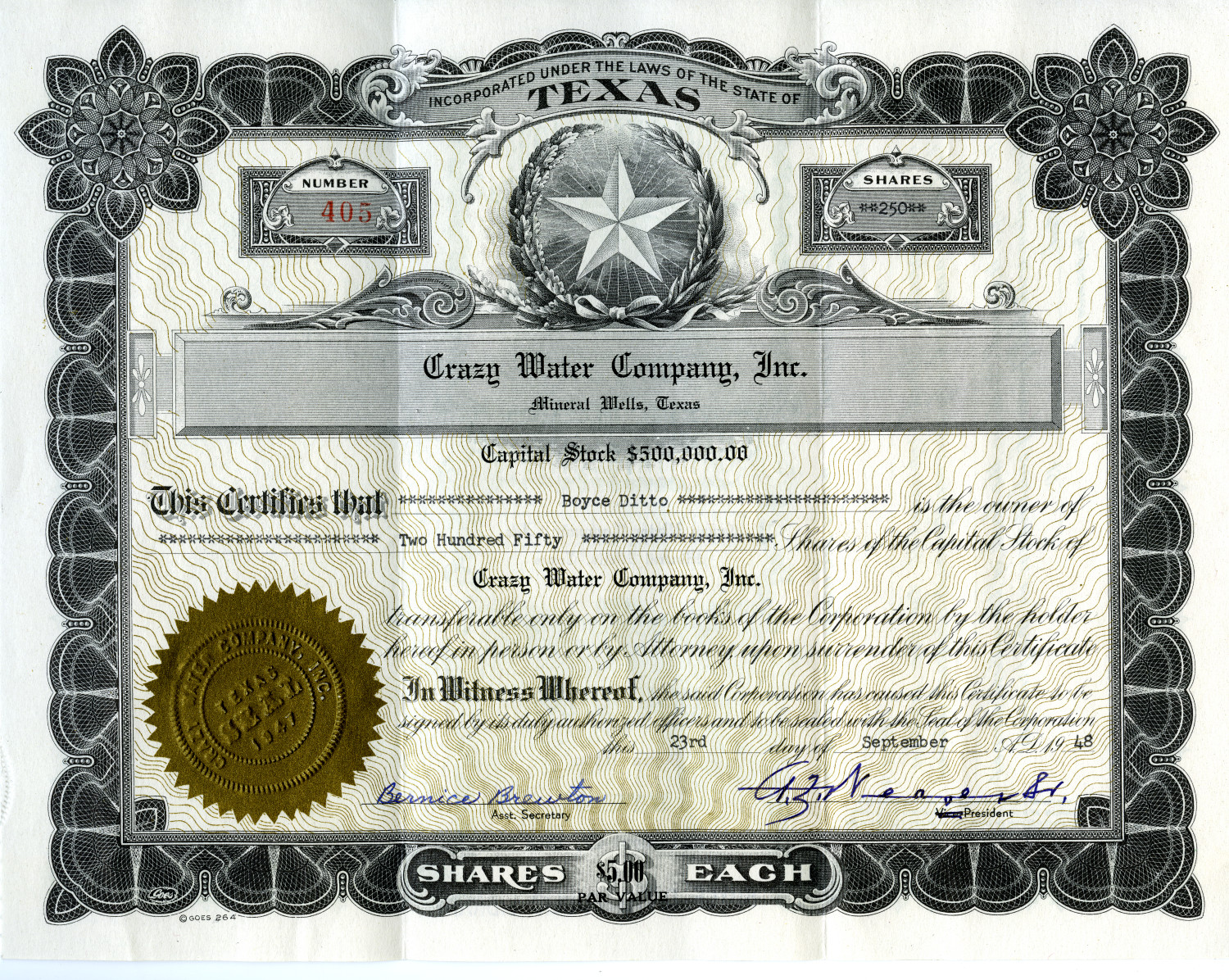 [The Crazy Water Company - Stock Certificate]                                                                                                      [Sequence #]: 2 of 2