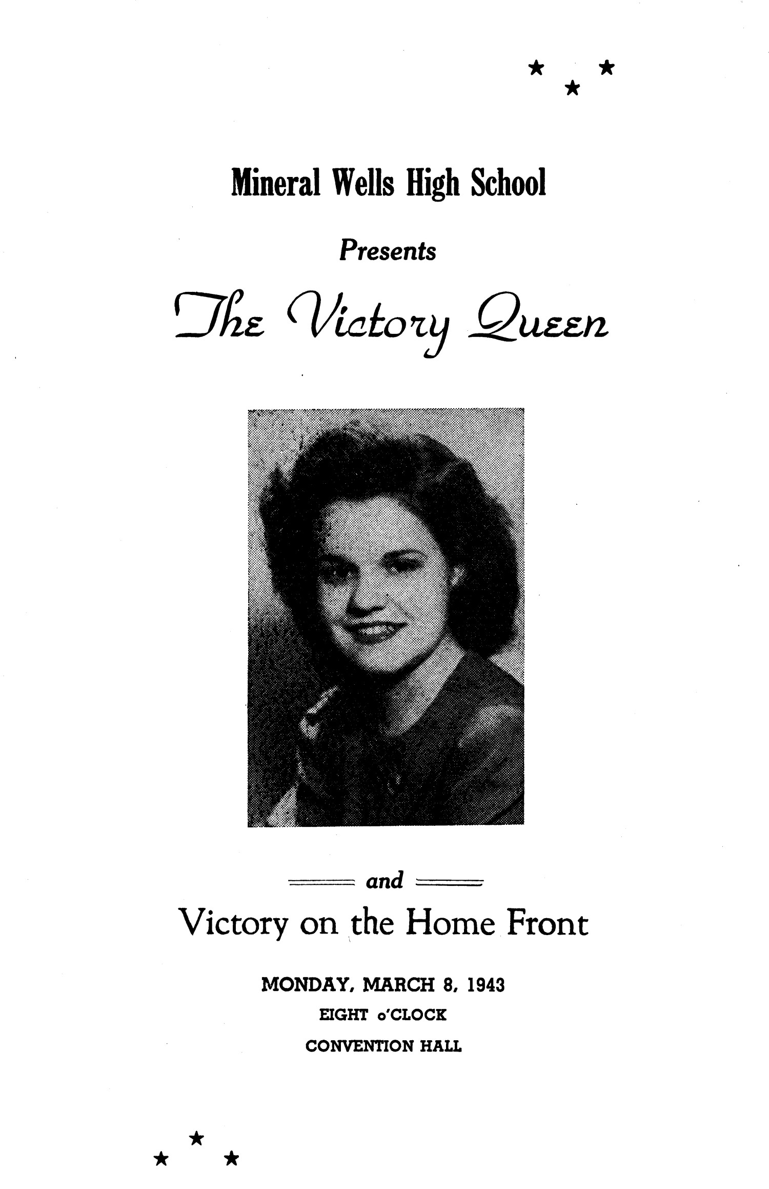 "A Program for the ""Victory Queen"" and ""Victory on the Home Front""                                                                                                      [Sequence #]: 1 of 4"