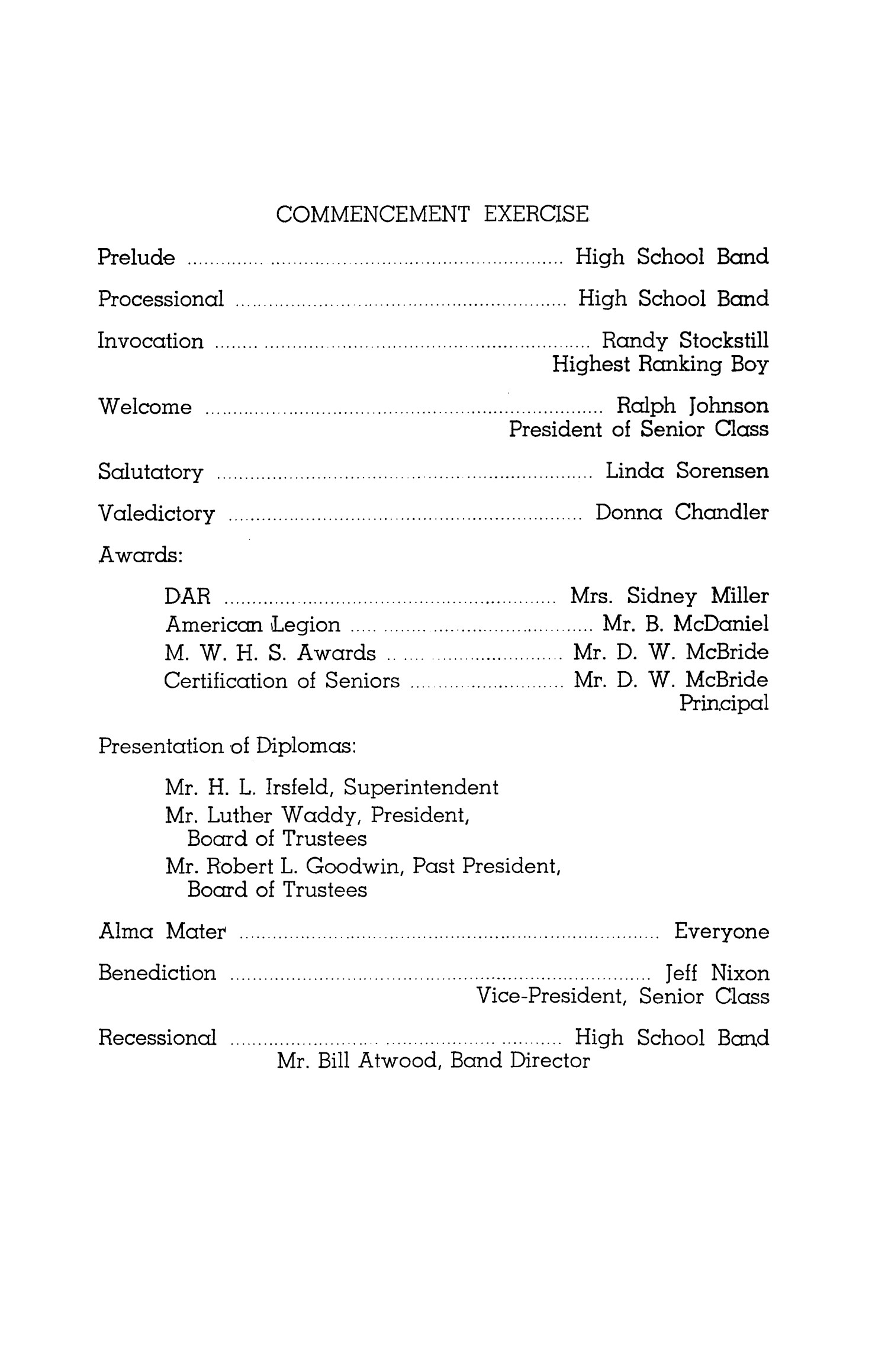 [A Mineral Wells High School Commencement Program of 1968]                                                                                                      [Sequence #]: 2 of 4