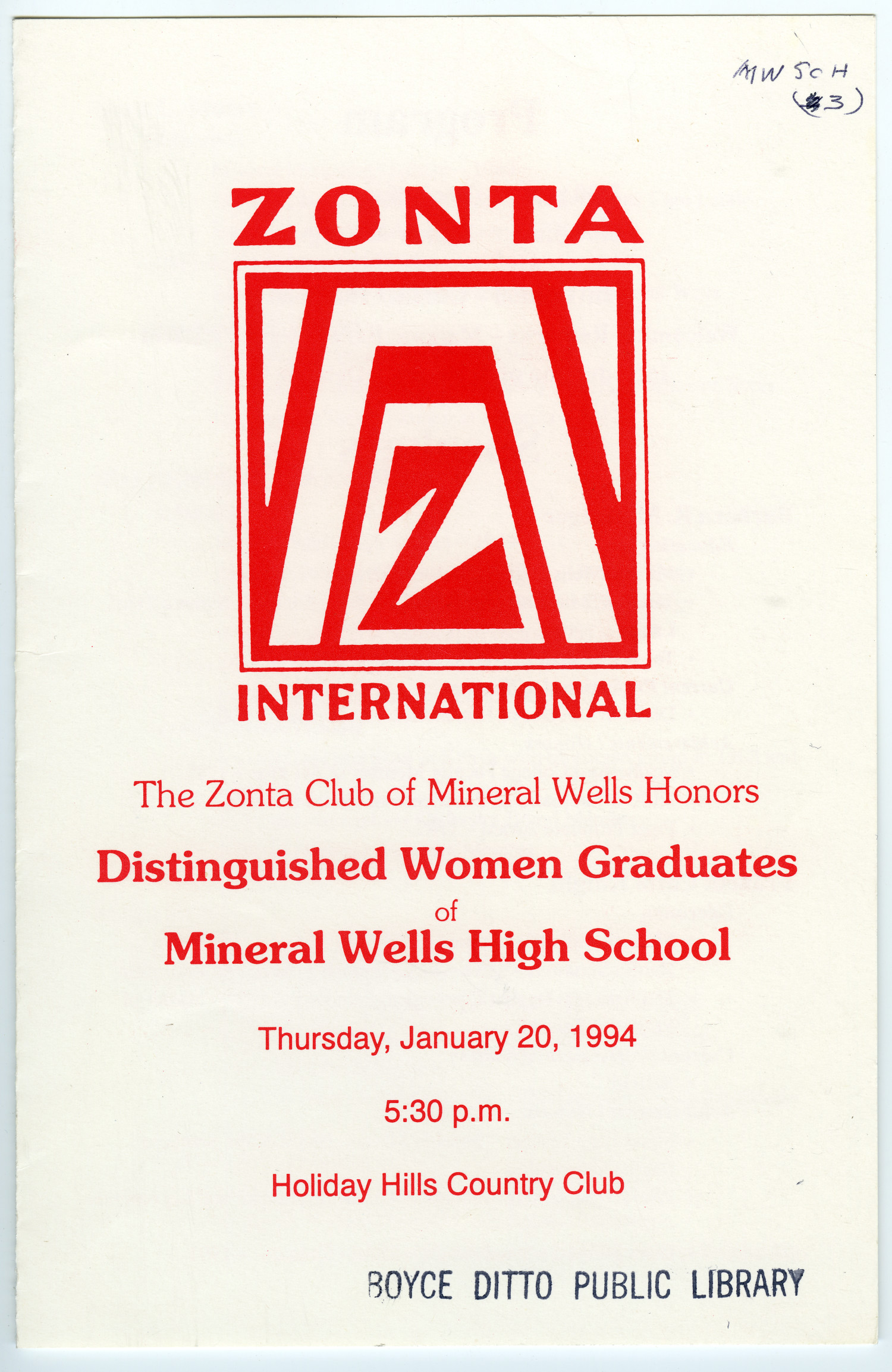[The Zonta Club of Mineral Wells--a Program, 1994]                                                                                                      [Sequence #]: 1 of 4