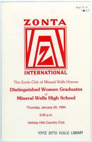 Primary view of object titled '[The Zonta Club of Mineral Wells--a Program, 1994]'.