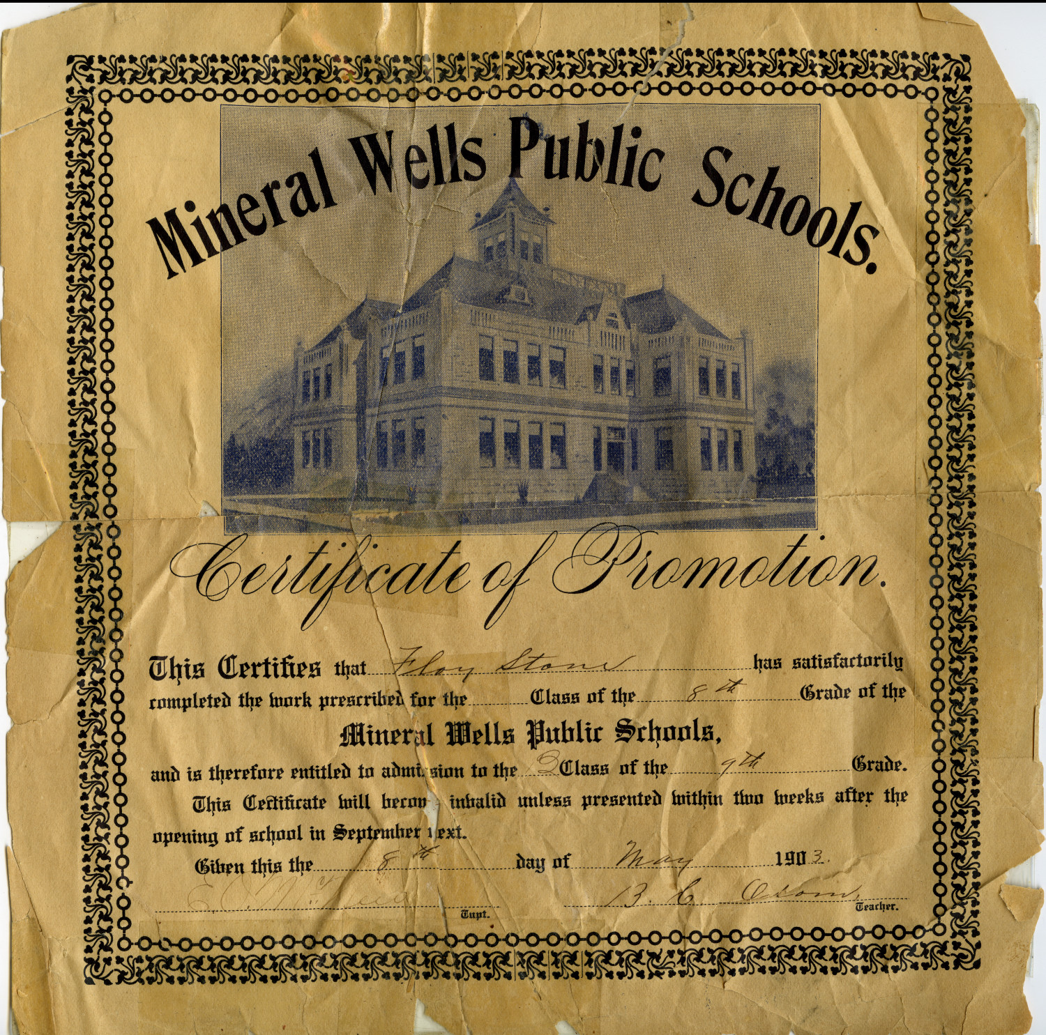 A Mineral Wells Public Schools Certificate of Promotion                                                                                                      [Sequence #]: 1 of 1