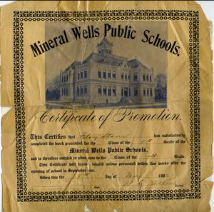 Primary view of object titled 'A Mineral Wells Public Schools Certificate of Promotion'.