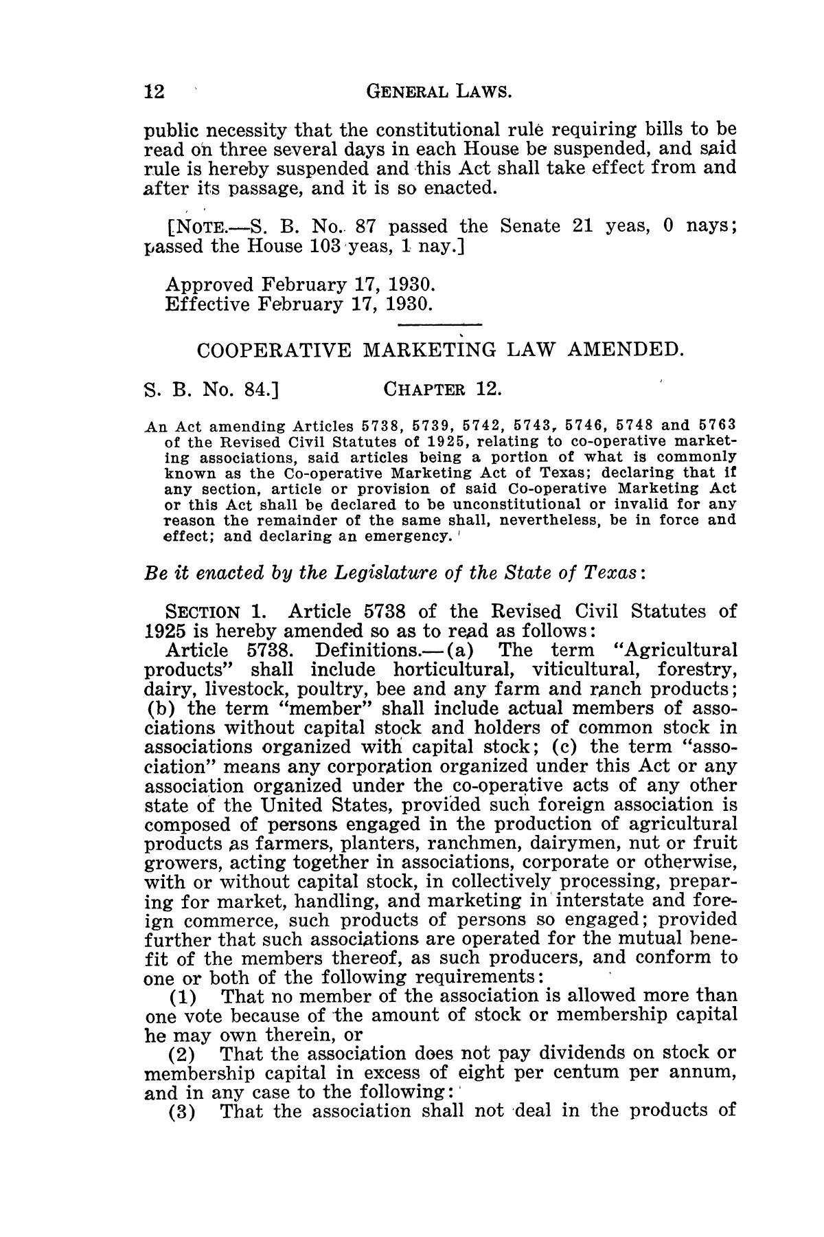 The Laws of Texas, 1929-1931 [Volume 27]                                                                                                      [Sequence #]: 24 of 1943