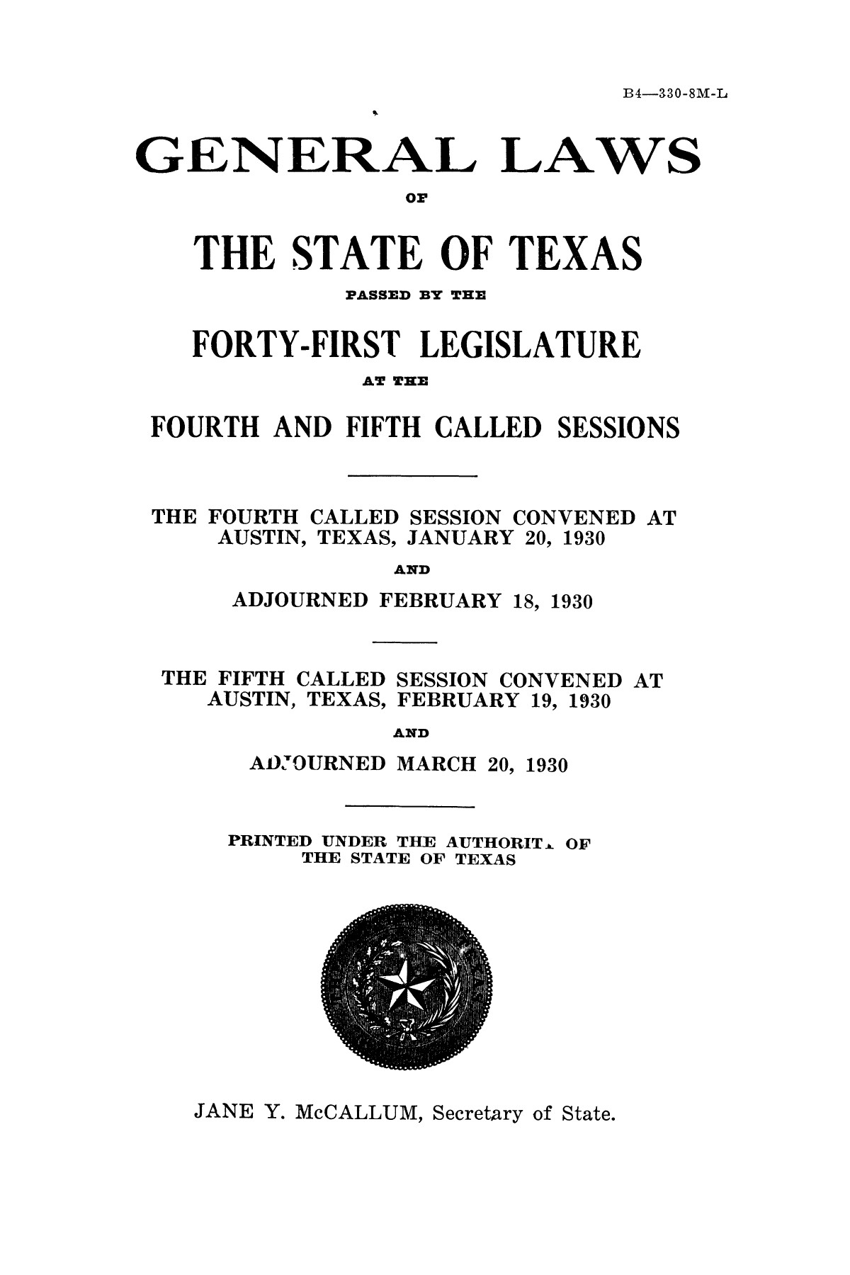 The Laws of Texas, 1929-1931 [Volume 27]                                                                                                      [Sequence #]: 3 of 1943