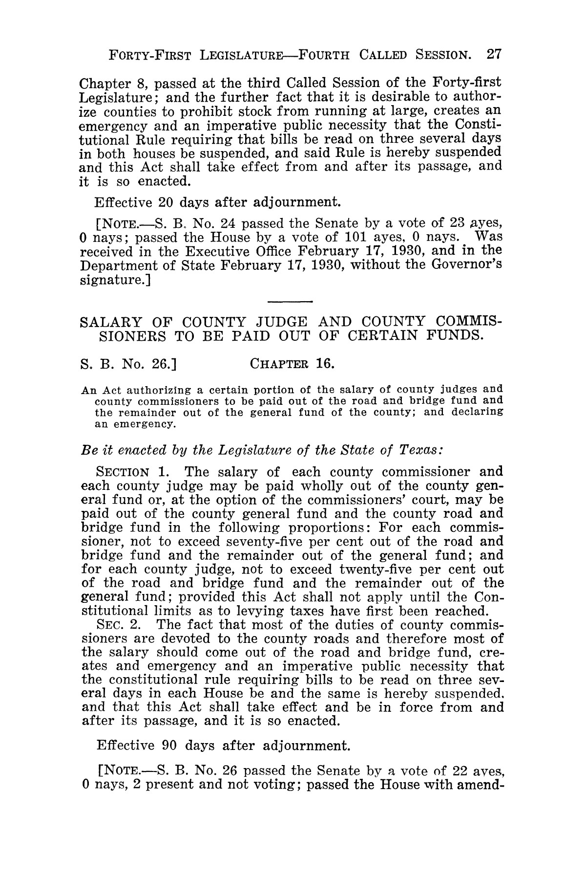 The Laws of Texas, 1929-1931 [Volume 27]                                                                                                      [Sequence #]: 39 of 1943