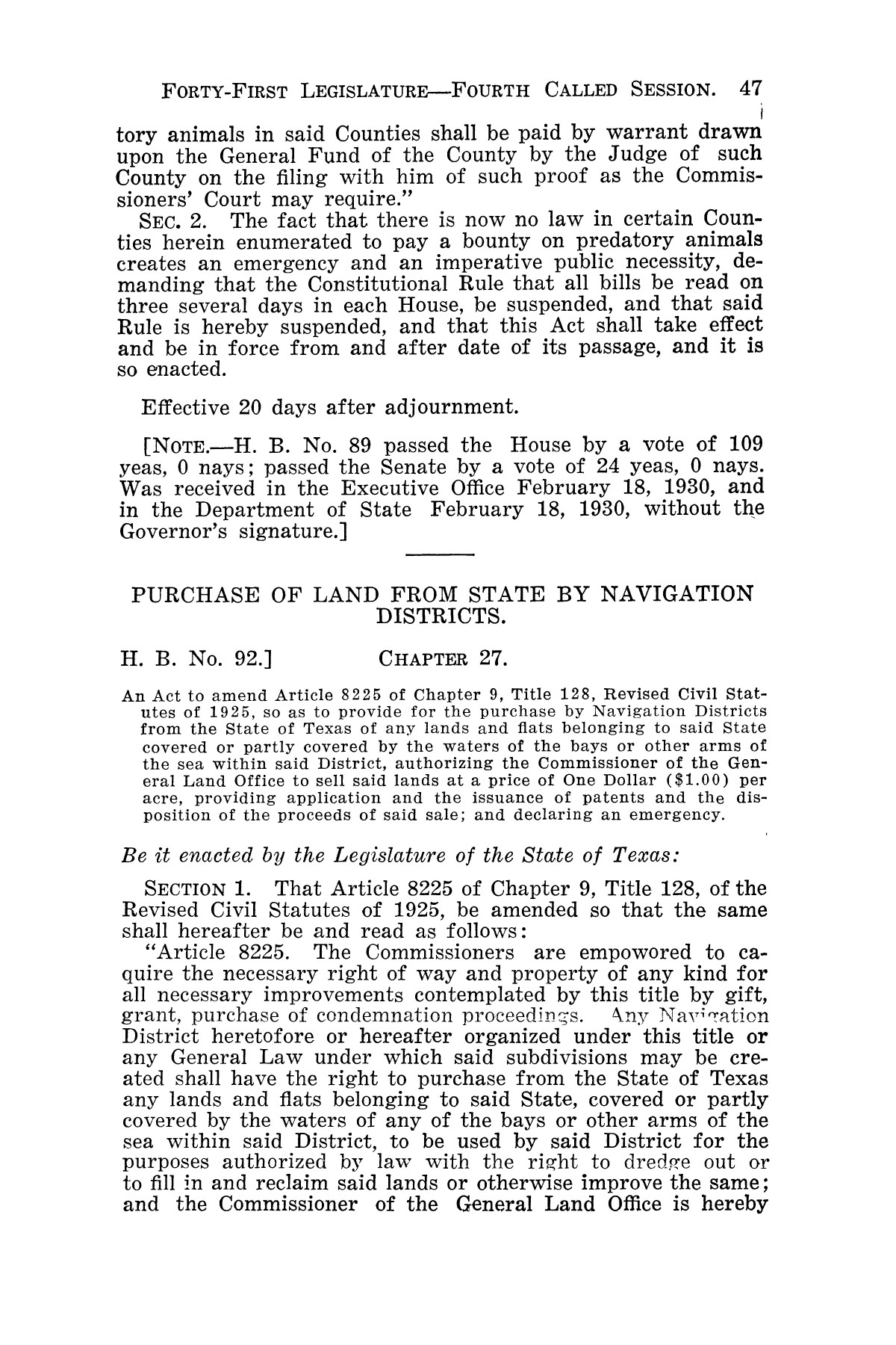 The Laws of Texas, 1929-1931 [Volume 27]                                                                                                      [Sequence #]: 59 of 1943
