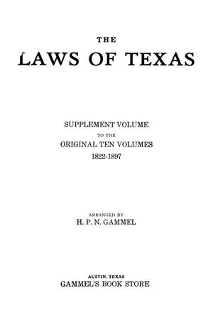 The Laws of Texas, 1929-1931 [Volume 27]