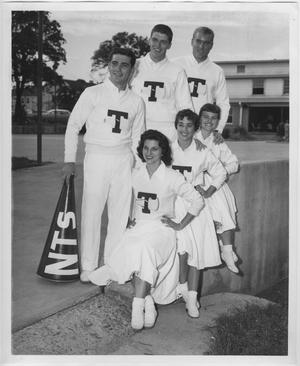 Primary view of object titled '[North Texas State College Cheerleaders, 1957]'.