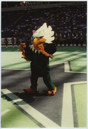 Alguien con un disfraz de águila tiene los brazos/alas extendidos. Una multitud de gente está detrás de él, y una fila de gente de la banda en el medio.