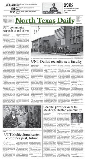 Primary view of object titled 'North Texas Daily (Denton, Tex.), Vol. 96, No. 5, Ed. 1 Thursday, September 2, 2010'.