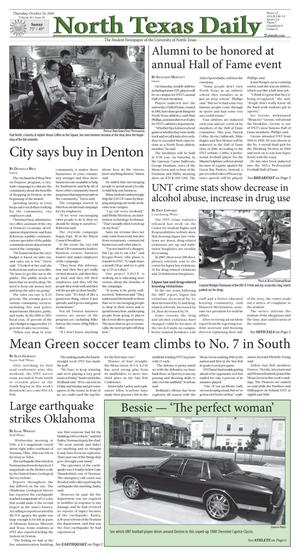 Primary view of object titled 'North Texas Daily (Denton, Tex.), Vol. 96, No. 29, Ed. 1 Thursday, October 14, 2010'.