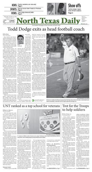 Primary view of object titled 'North Texas Daily (Denton, Tex.), Vol. 96, No. 33, Ed. 1 Thursday, October 21, 2010'.