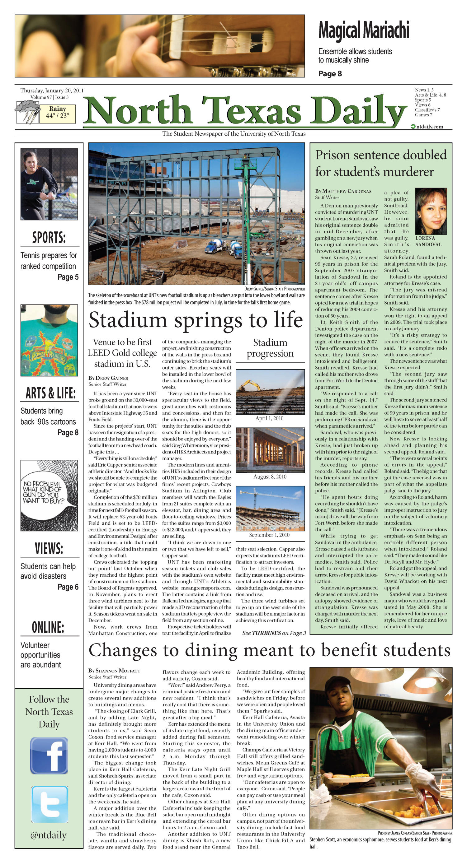 North Texas Daily (Denton, Tex.), Vol. 97, No. 3, Ed. 1 Thursday, January 20, 2011                                                                                                      [Sequence #]: 1 of 8