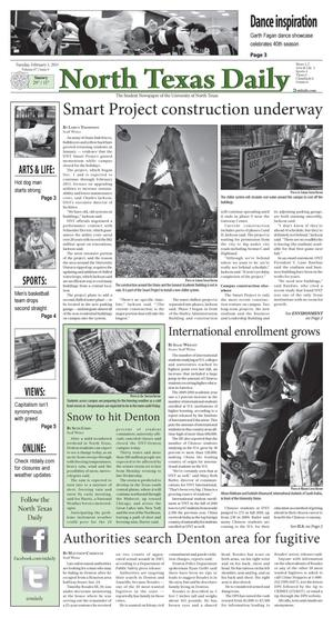 Primary view of object titled 'North Texas Daily (Denton, Tex.), Vol. 97, No. 9, Ed. 1 Tuesday, February 1, 2011'.