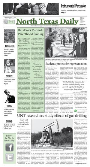 Primary view of object titled 'North Texas Daily (Denton, Tex.), Vol. 97, No. 23, Ed. 1 Thursday, March 3, 2011'.