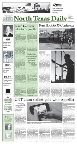 Primary view of object titled 'North Texas Daily (Denton, Tex.), Vol. 97, No. 28, Ed. 1 Friday, March 11, 2011'.