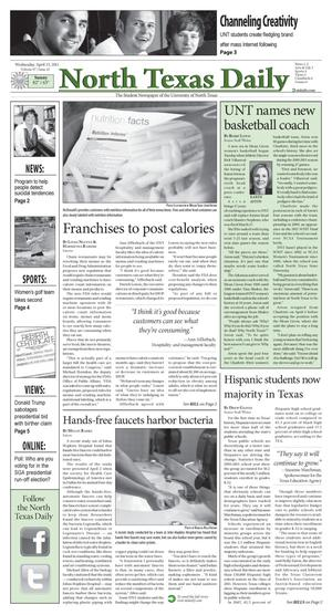 Primary view of object titled 'North Texas Daily (Denton, Tex.), Vol. 97, No. 42, Ed. 1 Wednesday, April 13, 2011'.