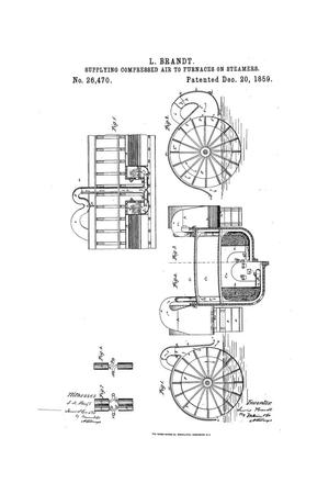 Primary view of object titled 'Arrangement for Supplying Air to the Furnaces of Stem-Boilers from the Wheel-Houses of Steamers.'.