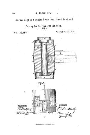 Primary view of object titled 'Improvement in Combined Axle-Boxes, Sand-Bands, and Casings for Carriage-Wheel Hubs.'.